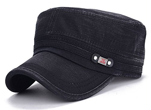 ChezAbbey Unisex Fitted Flat Top Cap Solid Brim Army Cadet Style Military Hat with Adjustable Strap Black