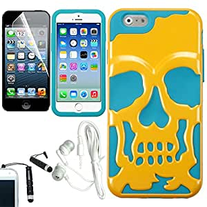 [ARENA] YELLOW TEAL SKULL HYBRID LAYERED COVER FITTED HARD GEL CASE for APPLE IPHONE 6 4.7 INCH + FREE ARENA ACCESSORY KIT