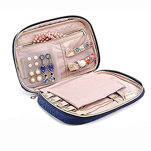 Rings Bracelet(Blue) Lmeison Travel Jewelry Organizer Bag Storage Case for Necklace Earrings