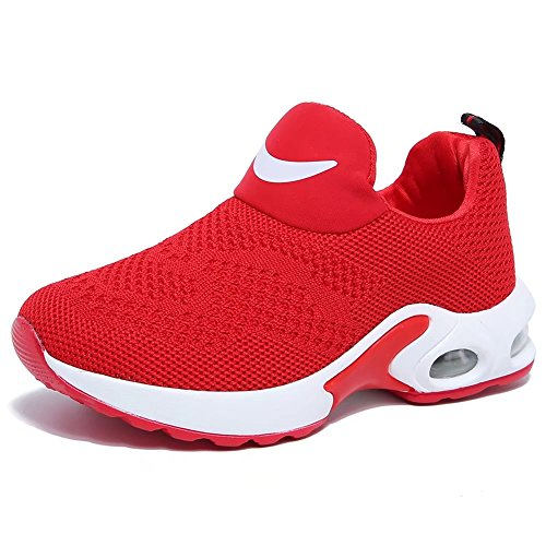 BODATU Kids Boys Girls Running Shoes Comfortable Fashion Light Weight Slip on Cushion(10, Red) - Image 1