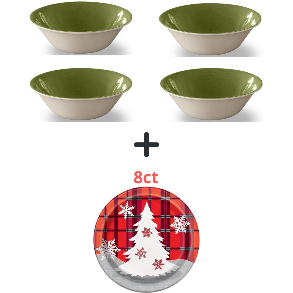 Set of 4 Mainstays Outdoor Melamine Glaze Green Bowl, Glaze Green with 8-Set of Dessert Plates