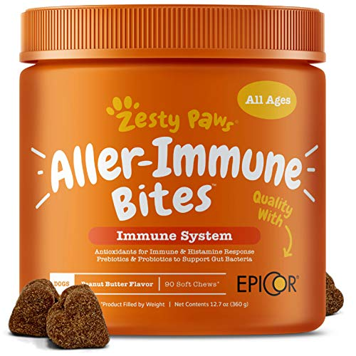Allergy Immune Supplement for Dogs Peanut Butter - With Omega 3 Wild Alaskan Salmon Fish Oil, EpiCor, Digestive Prebiotics & Probiotics - Seasonal Allergies + Skin Itch & Hot Spots - 90 Chew Treats]()
