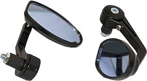 MotorToGo Black Reverse Retro Bar End View Mirrors for 2007 Kawasaki Ninja 650R EX650A