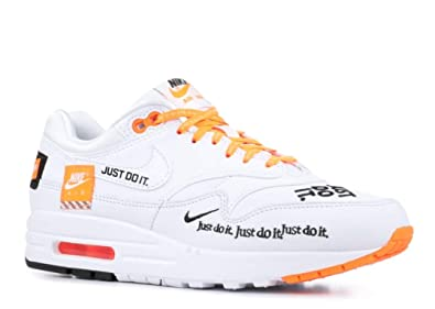 best service aa8c4 ec31d Nike Women s Air Max 1 Lux Black, White and Orange Leather and Fabric  Sneaker 38