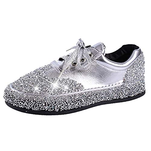 GLVSZ Women Fashion Glitter Sneakers Lightweight Casual Slip On Low Top Sport Jogger Shoes Outdoor Lace Up(Silver,US 7.5) (Hi Bounce Glitter)