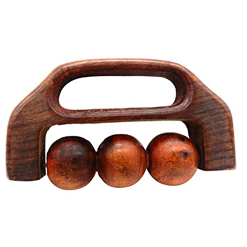 (WhopperIndia Handheld 3 Ball Wooden Massager with Grip Wooden Rolling Ball massager, Deep Muscle Massage - Trigger Point Therapy - Relief from Tired, Sore & Cramped Muscles 6 Inch)