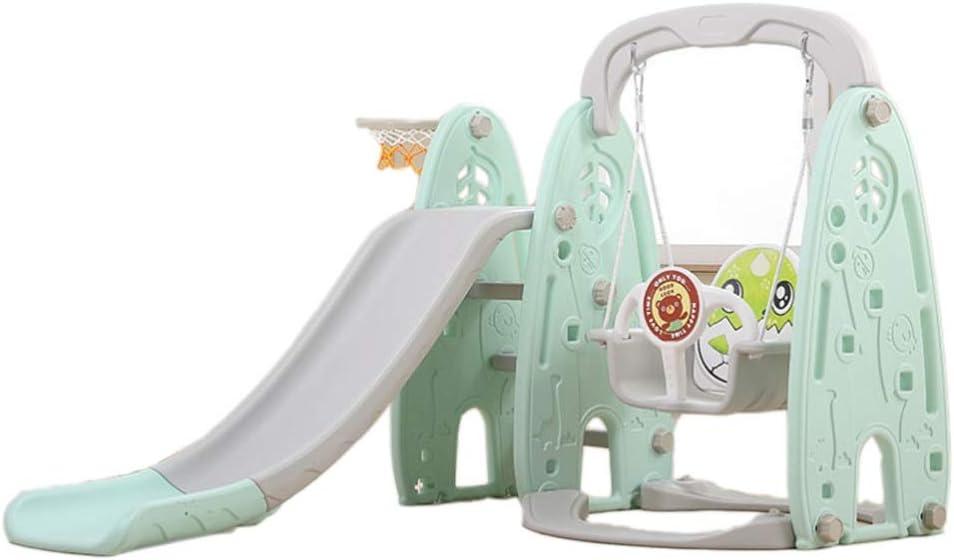 GLY Tobogan Infantil Tobogan Niños Jardin Columpios Infantiles Exterior Tobogan para Piscinas Tobogan, 3 En 1 Slide Set De Juego, Aro De Baloncesto, Fácil Subir Escaleras, Juguetes (Color : Verde)