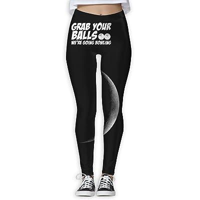 Loddgew Grab Your Balls, We're Going Bowling Women's Full-Length Yoga Workout Leggings Thin Capris