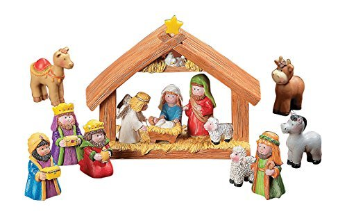 Fun Express Mini Christmas Nativity Set Stable with Jesus Mary Joseph Wisemen - 9 Pieces ]()