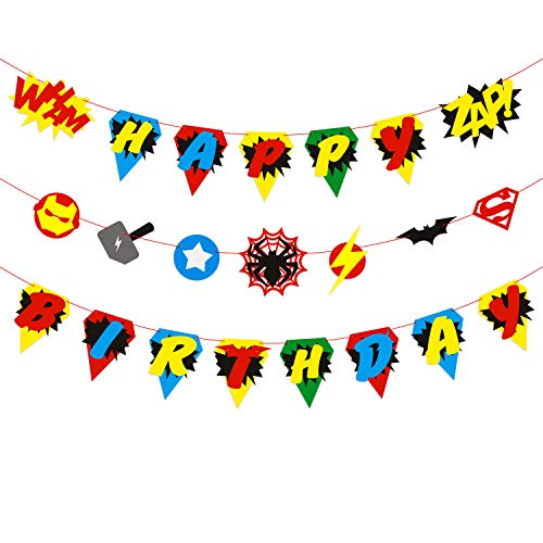BeYumi Hero Inspired Birthday Banner, Colorful Bunting Party Decorations for Boys and Kids Birthday Party -