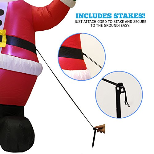 Joiedomi 6 Foot Inflatable Santa Claus; LED Light Up Giant Christmas Xmas Inflatable Santa Claus Carry Gift Bag for Blow Up Yard Decoration, Indoor Outdoor Garden Christmas Decoration by by Joiedomi (Image #4)