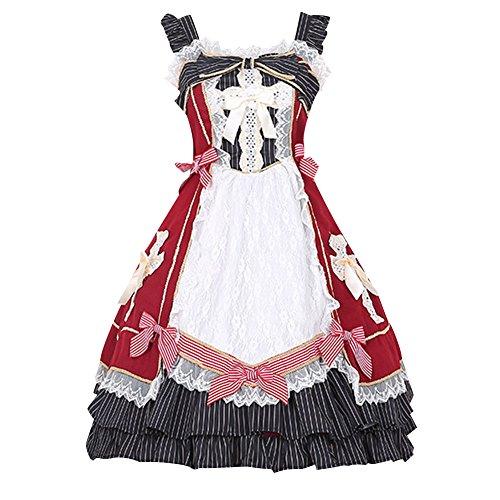 iecool Women's Retro Sleevess Bowknot Cross Sweet Classic Lolita Dress Winered M (Lolita Dress)