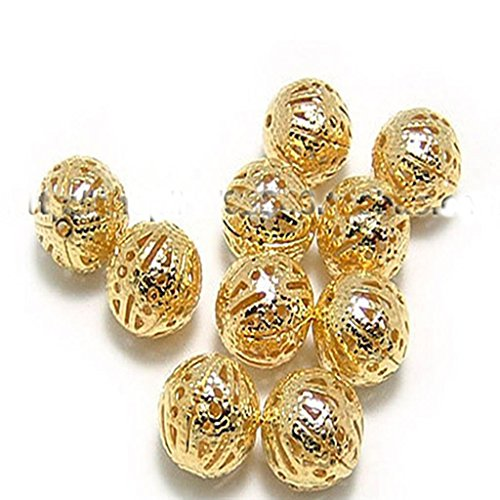 YOYOSTORE 100pcs Gold Plated Spacer Hollow Round Ball Beads Base 10mm for Jewelry Bracelets Necklace Make DIY Tool