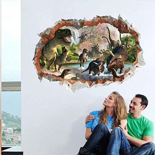 MLM 3D Dinosaurs Simulation Crack Hole Stickers Self-adhesive Peel and Stick Wall Decal Mural Living Room Bedroom Kids' Room Nursery Decor Playroom Decor by MLM (Image #3)