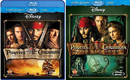 Pirates of the Caribbean Bundle - Dead Man's Chest & The Curse of the Black Pearl 2-Blue-ray + DVD Bundle Movie Set