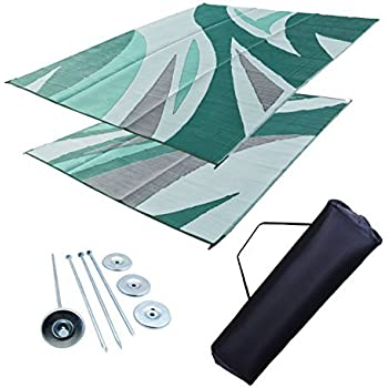 RV Patio Mat RV Awning Mat Leisure Mat Camping Mat Outdoor Mat Green Wave  9x12