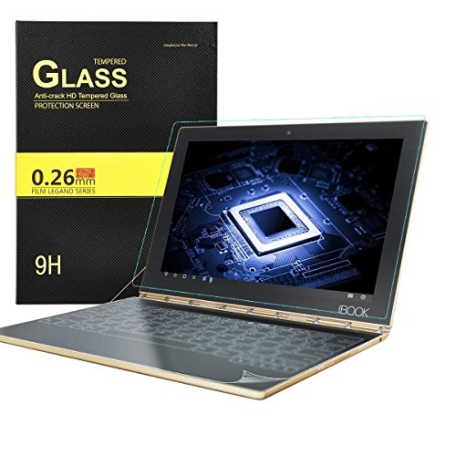 KuGi lenovo yoga book Screen protector and Keyboard Screen Protector, 1 Pack 9H Hardness Tempered Glass Screen Protector and 3 Pack HD clear Keyboard Protector for lenovo yoga book tablet (Clear)