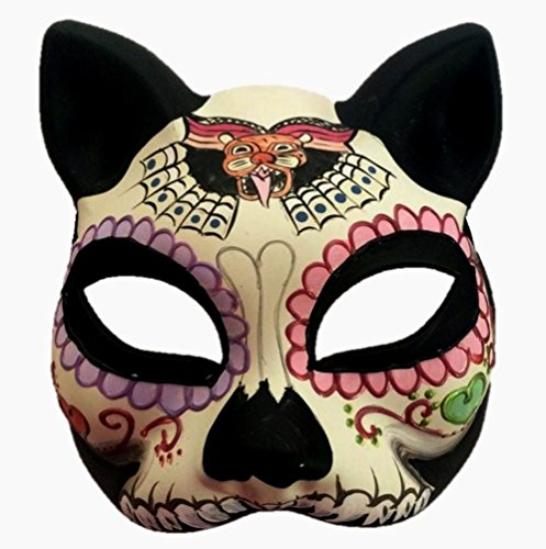 Day of the Dead Dias De Muertos Cat Masquerade Halloween Party Mask (Black White Tiger) (Day Of The Dead Mask For Sale)