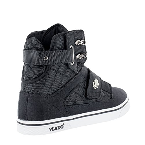 Vlado Footwear Mens Atlas 2 Canvas & Denim Navy / Marrone Sneakers Alte Nero / Bianco