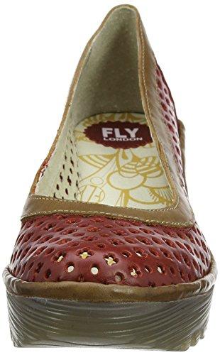 Fly London P500733005, Sandalias de Cuñas Mujer Rojo (Red/Camel 005)