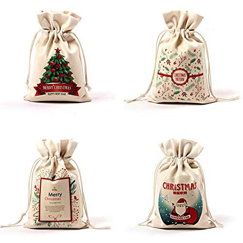 Christmas Cotton Drawstring Gift Bags, 4 Pack Santa Reindeer Canvas Rustic Vintage Christmas Candy Chocolates Gift Bags for Christmas Gifts Party Favor (Merry Christmas) -