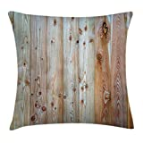 Ambesonne Rustic Home Decor Throw Pillow Cushion Cover by, Monochrome Wood Minimalist Rough Lined Up Tiled Logs Row Plank Surface Image, Decorative Square Accent Pillow Case, 16 X 16 Inches, Cream