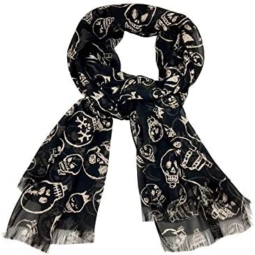 Black Skull Scarf Fringe Handmade product image