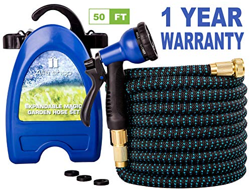 Expandable Garden Hose - Water Hose - Pocket Hose for Watering - Flexible Expandable Hose 50 ft - Set with Flex Expanding Garden Hose - Lightweight Hose Reel - Brass Fittings - 8 Function Spray Nozzle