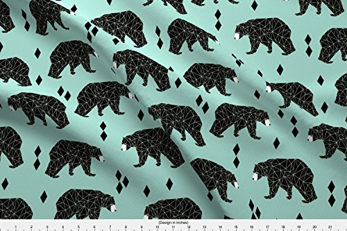 Spoonflower Bear Fabric Bear//Geometric Triangles Mint Nursery Animals Southwest Print by Andrea Lauren Printed on Fleece Fabric by the ()