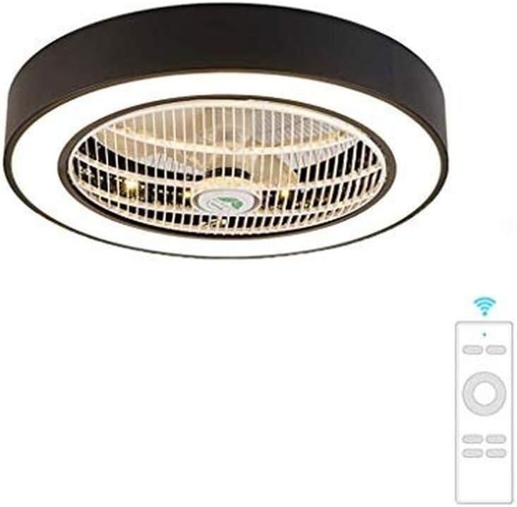 JY.YN ventilador de techo luz de techo creativo techo de luz LED ventilador de techo regulable con iluminación y dormitorio de guardería silencioso remoto (60 * 24 cm), gris (Black)