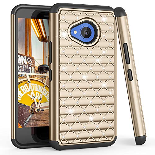 TILL for HTC U11 Life Case, TILL(TM) Studded Rhinestone Crystal Bling Diamond Sparkly Luxury Shock Absorbing Hybrid Dual Layer Rugged Defender Cute Glitter Case Cover for HTC U11 Life 5.2INCH [Gold]