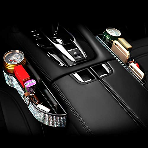 eing Bling Crystal Car Seat Catcher Gap Filler Organizer Side Slit Pocket Coin Side Pocket Console Side Pocket Car Organizer Storage Box,2PC/1Pair