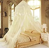 XDOBO Double Openning Round Lace Amazing Curtain Dome Princess Color Canopy Netting Mosquito Net for All Size (Beige)