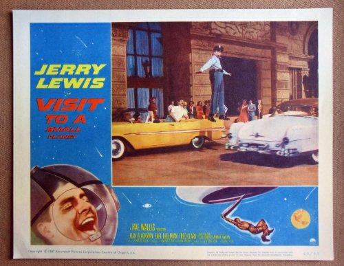 CY44 Visit To A Small Planet JERRY LEWIS '60 Lobby Card. This is an original lobby card; not a dvd or video. Lobby cards were used to advertise film playing at theater and they measure 11 by 14 inches. (Visit To A Small Planet Jerry Lewis)