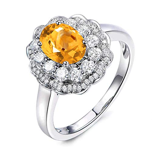 ANAZOZ Oval Cut 9X7MM Yellow Citrine Ring Band S925 Sterling Silver Wedding Band Engagement Promise Ring Crystal Size 8
