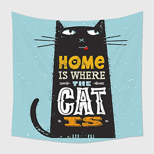 Home Decor Tapestry Wall Hanging Home Is Where The Cat Is Funny Quote About Pets Vector Outstanding Typography Print Concept On 297092399 for Bedroom Living Room Dorm