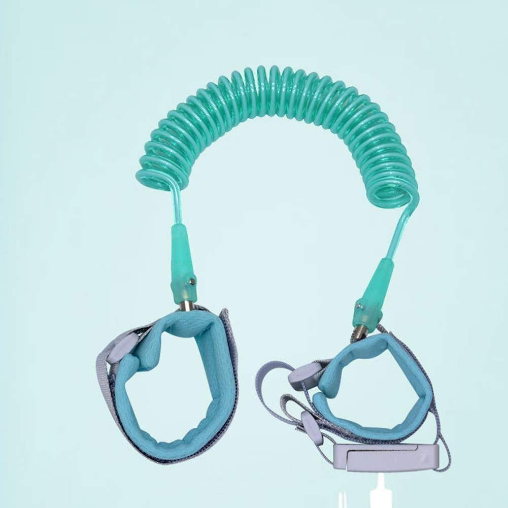 Anti-Lost Traction Rope Hand Ring Safety Belt with Lock Traction Rope (Color : Green, Size : 2.5m)