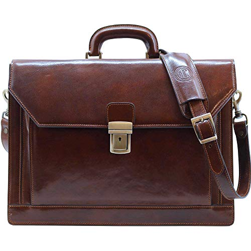Cenzo Italian Leather Men's 3 Gusset Briefcase Structured ()