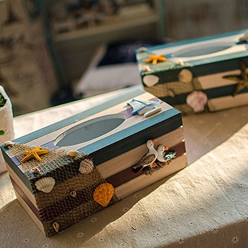 New Product New Product!Mediterranean style Wooden Tissue Boxes, organizador paper towels ornaments napkin holder home decor carfts seabird by Generic