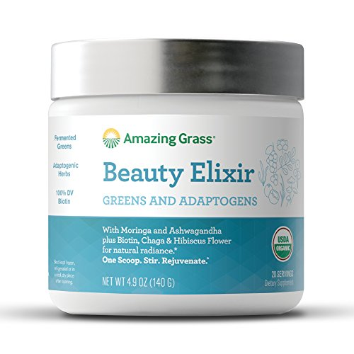 Amazing Grass Beauty Elixir, Greens and Adaptogens Organic Powder, 20 Serving Tub, 4.9 oz by Amazing Grass