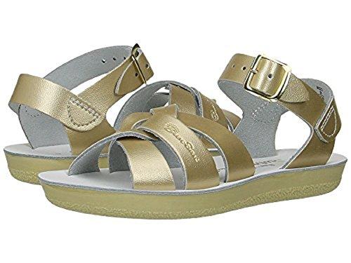 Salt Water Sandals by Hoy Shoe Girls' Sun-San Swimmer Flat Sandal Gold 9 M US Toddler ()