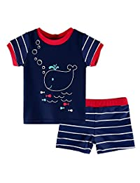 HUANQIUE Kids Swimsuit Boys UPF 50+ Sun Protection Two Piece Navy 3-4 Years