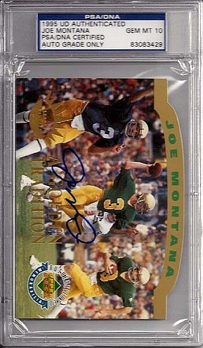 Joe Montana Signed 1995 Upper Deck Jumbo Trading Card Notre Dame Fighting Irish Gem 10 Auto - Certified Genuine Autograph By PSA/DNA - Autographed NCAA College Football Card ()