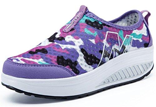 NEWZCERS Entrenamiento de la aptitud de las muchachas de las mujeres desliza-en zapatos del camuflaje de la plataforma púrpura