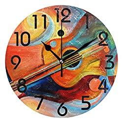 Naanle Chic Abstract Painting Music and Rhythm Print Round Wall Clock Decorative, 9.5 Inch Battery Operated Quartz Analog Quiet Desk Clock for Home,Office,School