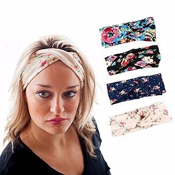 Amazon.com   4 Pack Women s Headband ON SALE! Boho Floral Style ... 3eb8f0e8eb5