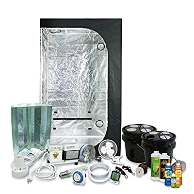 "Complete 2 x 3 (36""x22""x63"") Grow Tent Package With 250-Watt HPS Grow Light + DWC Hydroponic System & Nutrients"