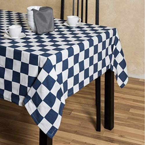 Checker Dress Cotton - TC Tanu Collections Rectangle Tablecloth - 60 x 102 Inch for 6 Foot Table 100% Cotton - Great for Buffet Table, Parties, Holiday Dinner, Wedding (Checker Board Navy Blue & White, 60