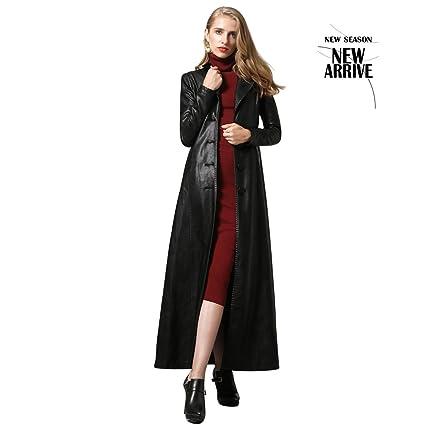 site réputé 4b0d6 11c90 Brilliant firm Manteaux Veste Longue en Cuir Noir pour Femme Printemps et  Automne Trench-Coat Slim-Breasted (Size : M)