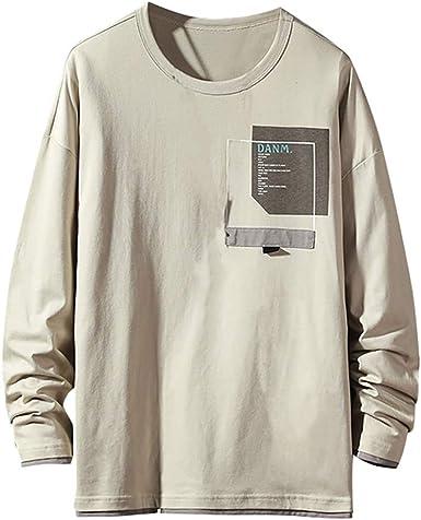 Mens Retro Long Sleeve Shirt Summer Punk Loose Casual V-Neck Shirts Tops M-2XL